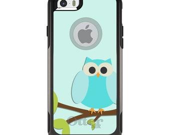 OtterBox Commuter for Apple iPhone 5S SE 5C 6 6S 7 8 PLUS X 10 - Custom Monogram - Any Colors - Blue Owl Cartoon