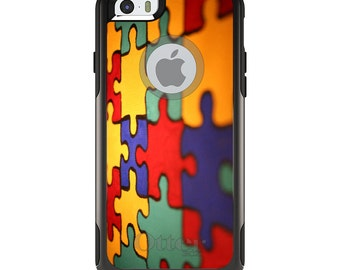 OtterBox Commuter for Apple iPhone 5S SE 5C 6 6S 7 8 PLUS X 10 - Custom Monogram - Any Colors - Red Blue Yellow Puzzle Pieces