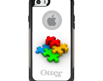 OtterBox Commuter for Apple iPhone 5S SE 5C 6 6S 7 8 PLUS X 10 - Custom Monogram - Any Colors - Red Blue Yellow 3D Puzzle Pieces