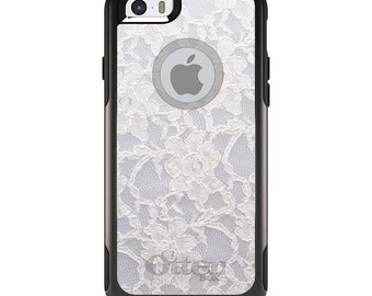 OtterBox Commuter for Apple iPhone 5S SE 5C 6 6S 7 8 PLUS X 10 - Custom Monogram - Any Colors - White Lace Wedding