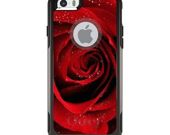 OtterBox Commuter for Apple iPhone 4 4S 5 5S SE 5C 6 6S 7 PLUS - Custom Monogram - Any Colors - Dew Covered Red Rose