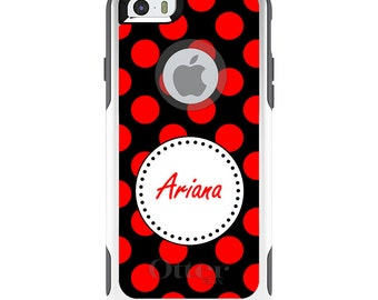 OtterBox Commuter for Apple iPhone 5S SE 5C 6 6S 7 8 PLUS X 10 - Custom Monogram or Image - Red Black White Polka Dots