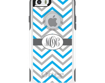 OtterBox Commuter for Apple iPhone 5S SE 5C 6 6S 7 8 PLUS X 10 - Custom Monogram or Image - Grey White Blue Chevron Stripes