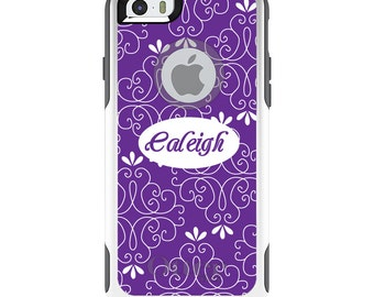 OtterBox Commuter for Apple iPhone 5S SE 5C 6 6S 7 8 PLUS X 10 - Custom Monogram or Image - Purple White Floral Name
