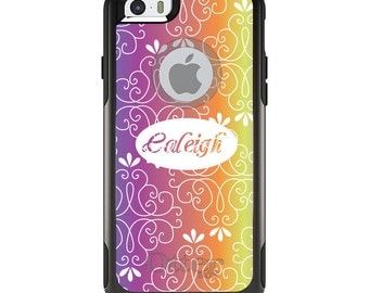 OtterBox Commuter for Apple iPhone 5S SE 5C 6 6S 7 8 PLUS X 10 - Custom Monogram or Image - Blue Purple Orange Pink Floral