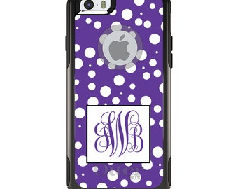 OtterBox Commuter for Apple iPhone 5S SE 5C 6 6S 7 8 PLUS X 10 - Custom Monogram or Image - Purple White Dots Purple Initials