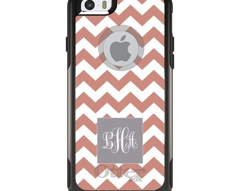 OtterBox Commuter for Apple iPhone 5S SE 5C 6 6S 7 8 PLUS X 10 - Custom Monogram or Image - Coral White Chevron Grey