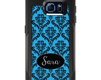 OtterBox Commuter for Galaxy S4 / S5 / S6 / S7 / S8 / S8+ / Note 4 5 8 - CUSTOM Monogram Name Initials - Black Blue Damask Oval