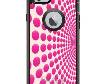 CUSTOM OtterBox Defender Case for Apple iPhone 6 6S 7 8 PLUS X 10 - Personalized Monogram - Hot Pink Polka Dots Swirl