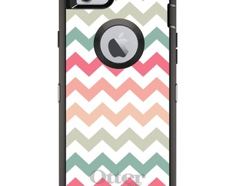 CUSTOM OtterBox Defender Case for Apple iPhone 6 6S 7 8 PLUS X 10 - Personalized Monogram - Pastel Chevron Wave Stripes
