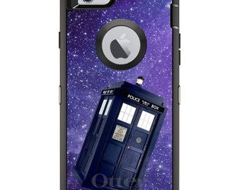Floating TARDIS OtterBox Defender / Apple iPhone OR Samsung Galaxy / In Space / Custom Personalized Monogrammed / Any Color / Any Font