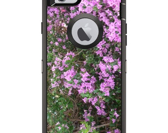 CUSTOM OtterBox Defender Case for Apple iPhone 6 6S 7 8 PLUS X 10 - Personalized Monogram - Purple Flowers Mykonos Greece