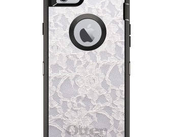 CUSTOM OtterBox Defender Case for Apple iPhone 6 6S 7 8 PLUS X 10 - Personalized Monogram - White Lace Wedding