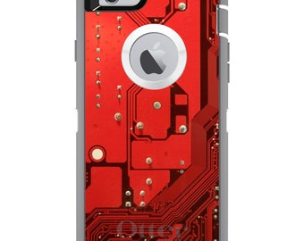 CUSTOM OtterBox Defender Case for Apple iPhone 6 6S 7 8 PLUS X 10 - Personalized Monogram - Red Circuit Board