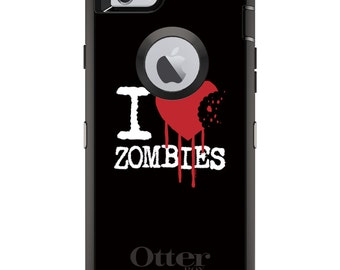 CUSTOM OtterBox Defender Case for Apple iPhone 6 6S 7 8 PLUS X 10 - Personalized Monogram - I Heart Zombies