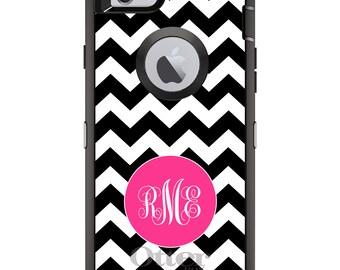 CUSTOM OtterBox Defender Case for Apple iPhone 6 6S 7 8 PLUS X 10 - Personalized Monogram - Black White Pink Chevron Stripes