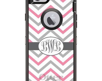 CUSTOM OtterBox Defender Case for Apple iPhone 6 6S 7 8 PLUS X 10 - Personalized Monogram - Pink Grey Chevron Stripes Ribbon