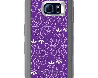 Custom OtterBox Defender for Galaxy S5 S6 S7 S8 S8+ Note 5 8 Any Color / Font - Purple White Floral