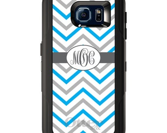 Custom OtterBox Defender for Galaxy S5 S6 S7 S8 S8+ Note 5 8 Any Color / Font - Grey White Blue Chevron Stripes