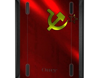 Custom OtterBox Defender for Apple iPad 2 3 4 / Air 1 2 / Mini 1 2 3 4 - CUSTOM Monogram - USSR Soviet Flag Waving