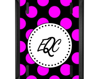 Custom OtterBox Defender for Apple iPad 2 3 4 / Air 1 2 / Mini 1 2 3 4 - CUSTOM Monogram - Pink Black White Polka Dots