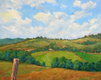 Landscape original oil painting, clouds, Tuscany hills field peaceful, Italy,20x24, Sessa
