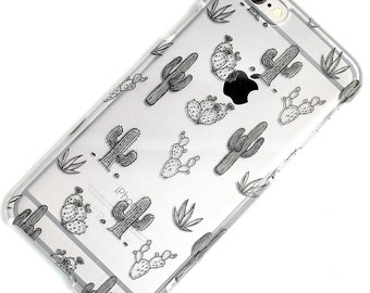 Cactus Doodle Black Clear Case iPhone 6, SE, 6 Plus, 6S, 5, 5C, 5S, Galaxy S6, S7, Note 4, Note 5