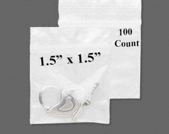 "CLEARANCE - Plastic Bag - Zipper Bag - 1.5"" x 1.5"" - Zip Close Bag - Zip Bag - Storage Bag - Resealable Bag - 100 COUNT"