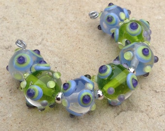 Purple & Green Lampwork Glass Bead Set