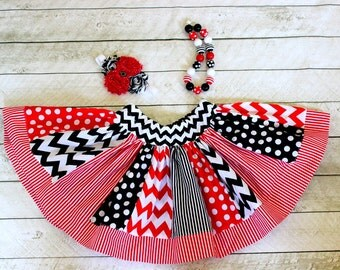 Pirate skirt  red and black chevon stripe and polka dot skirt girls pirate birthday skirt black and red skirt outfit set girls skirts