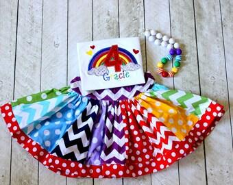 Rainbow birthday outfit Rainbow birthday skirt set Rainbow birthday shirt with matching rainbow skirt  Size 2t 3t 4t 5 6 8 10 12 months