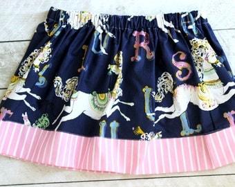 girls carousel skirt horse skit for girls fall skirt fall skirt for girls spring skirt  summer skirt fall clothing birthday blue pink