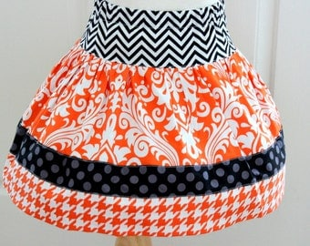 girls Halloween skirt chevron polka dot quatrefoil skirt chevron skirt white orange and black skirt halloween outfit set girl skirts pumpkin