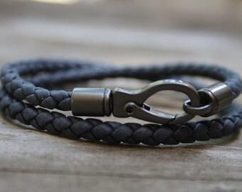 Hand braided blue leather bracelet, denim blue leather, blue bolo leather bracelet, gunmetal robster clasp, premium quality leather