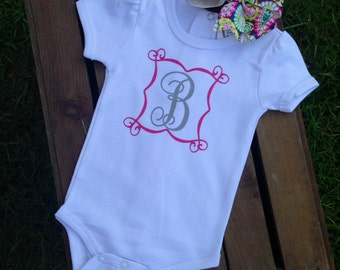 Monogrammed Short Sleeve Onesie with matching Hair Bow
