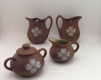 Vintage pigeon forge pottery sugar bowl creamer wall vase kitchen decor