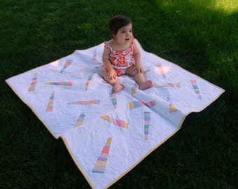 Modern 30's Baby Quilt, Play Mat in Sweet Colors