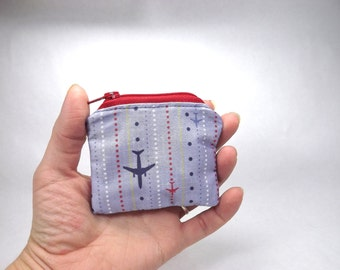 Air plane zipper pouch, pilot bag, flight coin purse,  airplane wallet, accessory, blue red, change puch