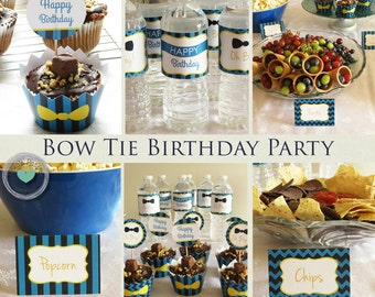 Bow Tie First Birthday Party - Boys Bow Tie Birthday Party Theme - Little Man Boy Birthday Party - Bow Tie Birthday - Instant Download