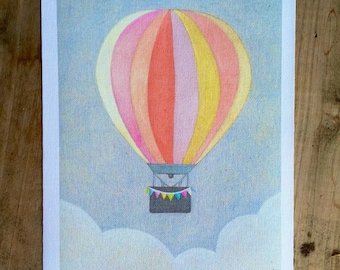 "Hot Air Ballon: Art Print, 8 1/2"" x 11"""