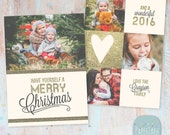 Christmas Card Template - Gold Glitter- Photoshop template - AC025 - INSTANT DOWNLOAD