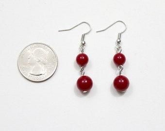 Wine Red Beaded Earrings