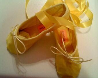 Yellow Satin Ballet Shoes - Full sole - Children's  sizes