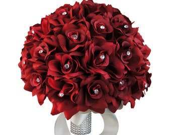 Bouquet - Extra Large(30stems roses) Bridal Bouquet Apple Red Rose with Rhinestone *Pick Ribbon Color*