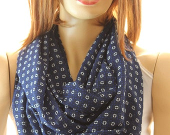 Navy Blue Silk Chiffon infinity scarf, Loop scarf, Circle scarf, Women Scarf, Accessories, Woman Scarves, Fashion Accessories, Infiinity