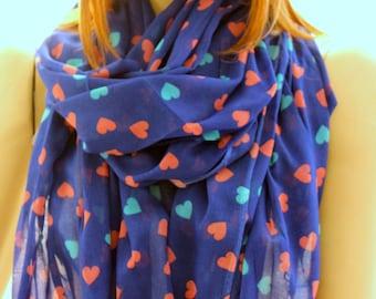 Christmas gift, Christmas scarf, New year gift ideas, winter scarf, Heart printed shawl - Heart print scarf - Long Scarf - Long Shawl