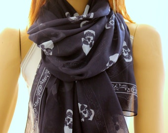 Christmas gift, Christmas scarf, New year gift ideas, winter scarf, skull print soft cotton shawl scarf - Navy Blue skulls scarves