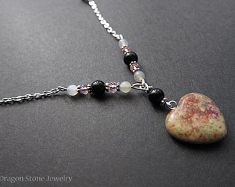Unakite Heart with serpentine and Jet Beads with pink faceted beads