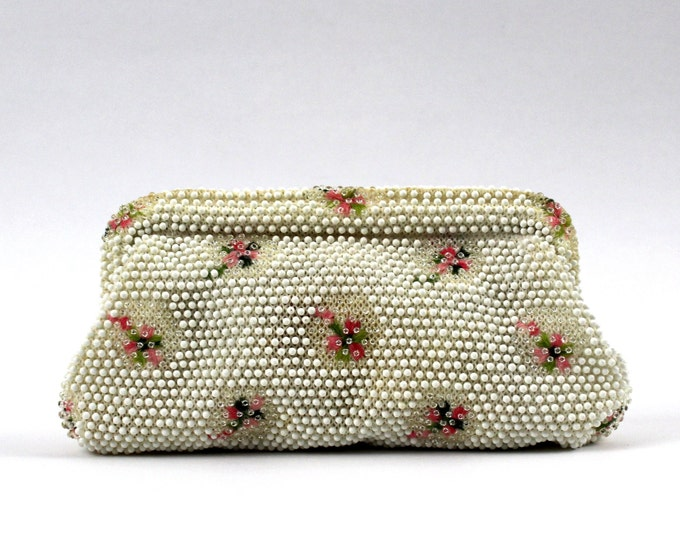 Corde Beaded Handbag - 50s White and Pink Floral Clutch - Vintage 1950s Wedding Purse