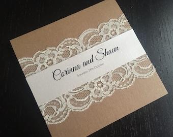Square Kraft Lace Wedding Invitation